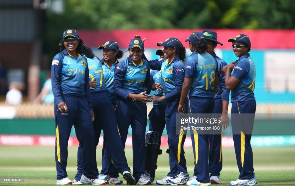 Shashikala Siriwardena of Sri Lanka (C) celebrates with team mates after taking the catch to dismiss Smriti Mandhana of India during the ICC Women's World Cup match between Sri Lanka and India at The 3aaa County Ground on July 5, 2017 in Derby, England.