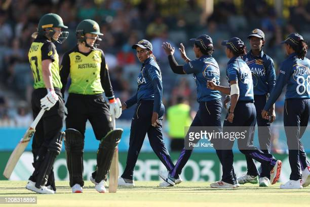Shashikala Siriwardena of Sri Lanka looks on after failed DRS review during the ICC Women's T20 Cricket World Cup match between Australia and Sri...