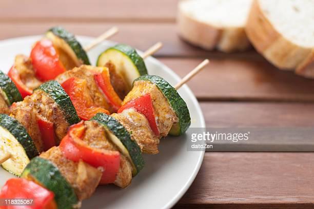 Shashlik kebabs on plate