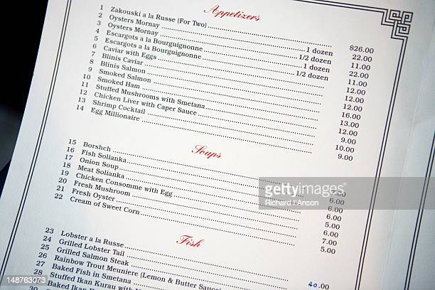 Shashlik Restaurant menu.