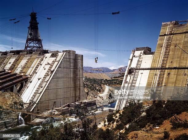 Shasta dam under construction, New Deal, California, 1942.