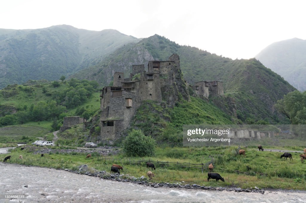 Shatili fortified stone castle, North Caucasus, Georgia : Stock Photo