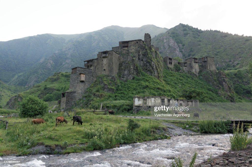 Shatili fortress, Khevsureti, Georgia : Stock Photo