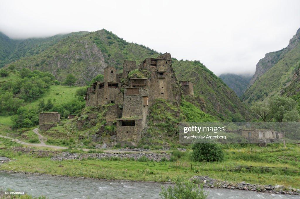 Shatili medieval castle, North Caucasus, Georgia : Stock Photo