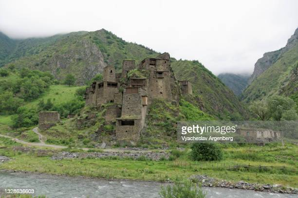 shatili medieval castle, north caucasus, georgia - argenberg stock pictures, royalty-free photos & images