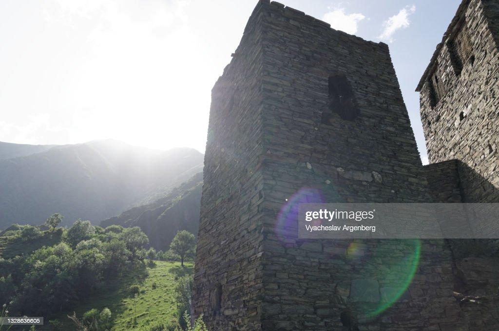Shatili stone tower, North Caucasus, Georgia : ストックフォト