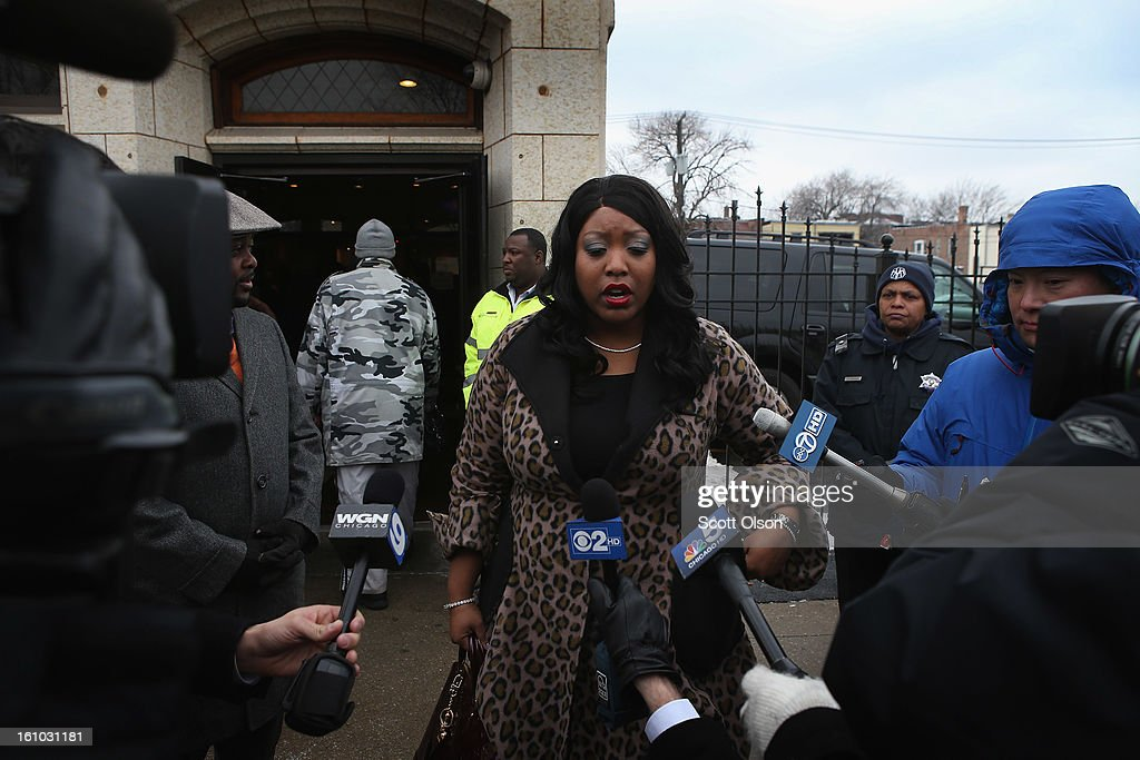 Shatira Wilks, cousin of 15-year-old Hadiya Pendleton, speaks to the media outside the Calahan Funeral Home during Hadiya's wake on February 8, 2013, in Chicago, Illinois. Hadiya was killed when a gunman opened fire on her and some friends as they stood under a shelter on a warm, rainy afternoon in a park about a mile from President Obama's Chicago home. First lady Michelle Obama is expected to attend tomorrow's funeral with senior White House adviser Valerie Jarrett and Education Secretary Arne Duncan.