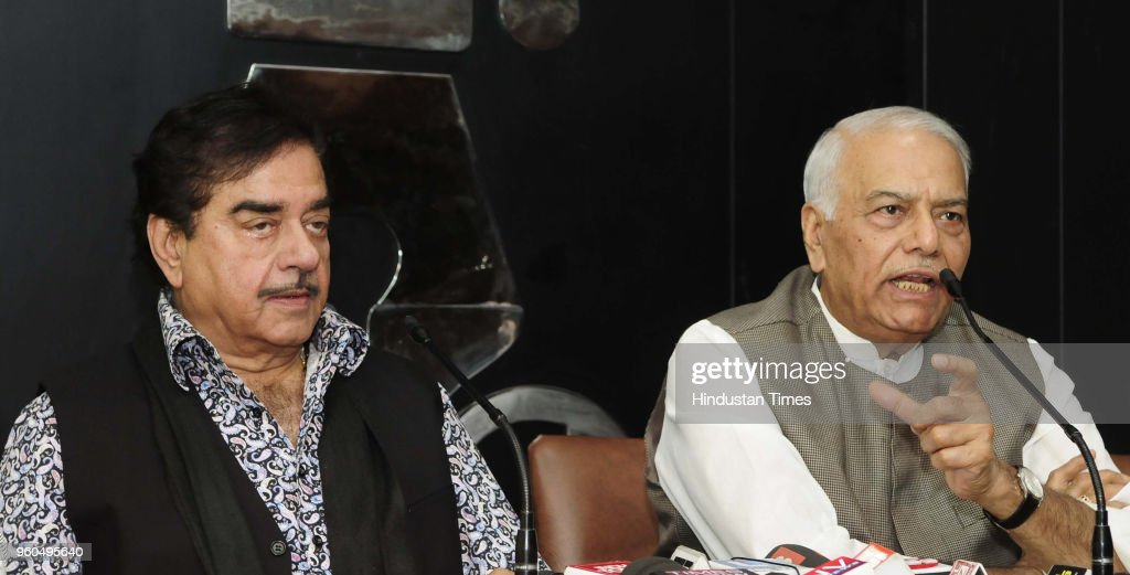 Shatrughan Sinha and former Union Minister Yashwant Sinha speak during a media interaction at Chandigarh Press Club on May 20 2018 in Chandigarh...