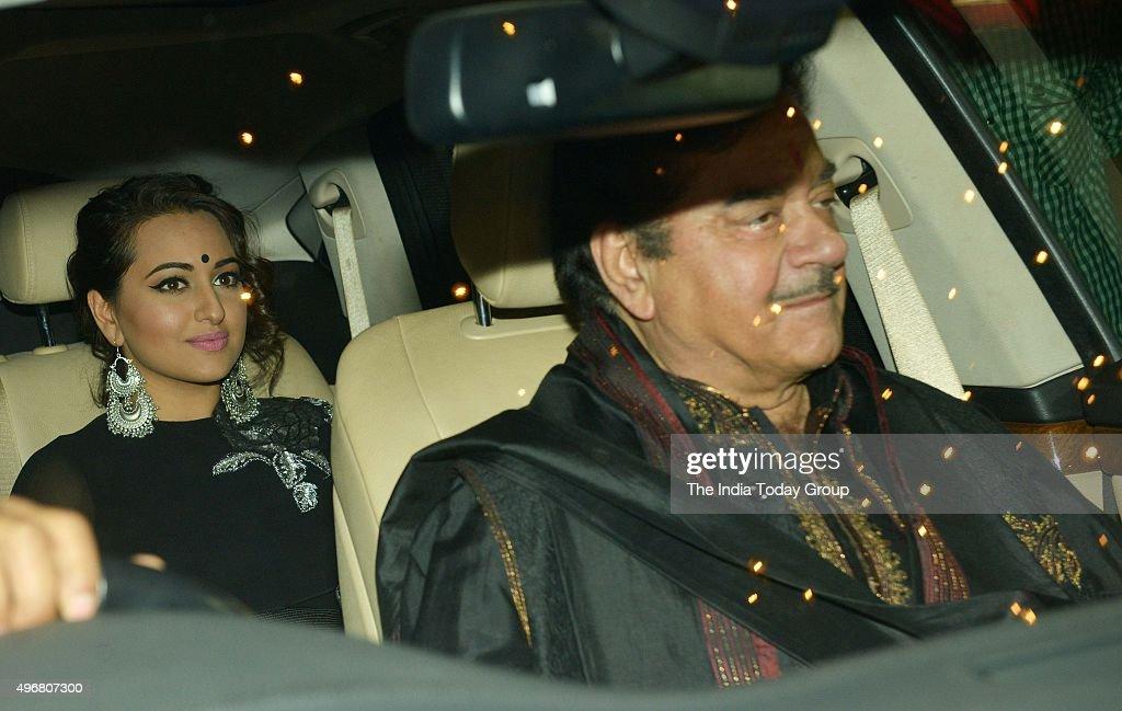 Shatrughan Sinha and Sonakshi Sinha at Amitabh Bachchan`s Diwali Party in Mumbai
