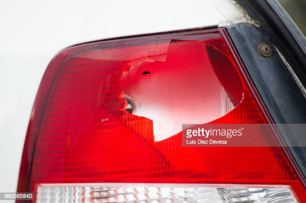shattered car lights - tail light stock pictures, royalty-free photos & images