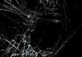 Shattered glass in dark background