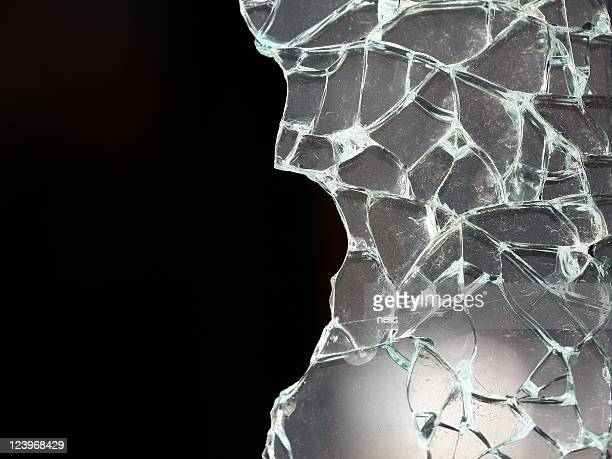 Shattered glass on a black background