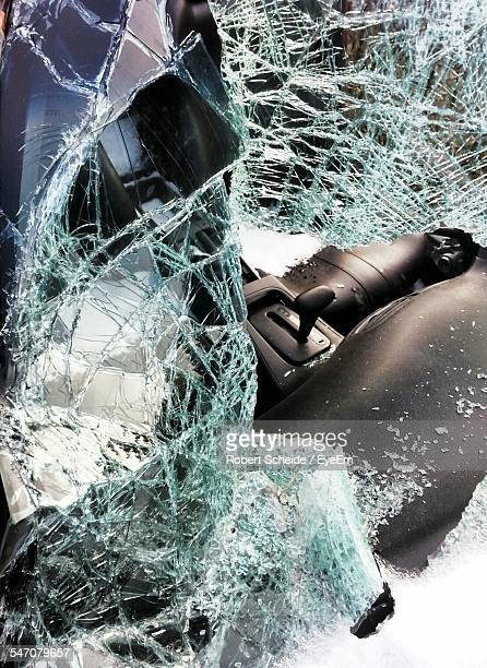 Shattered Windshield Of Truck