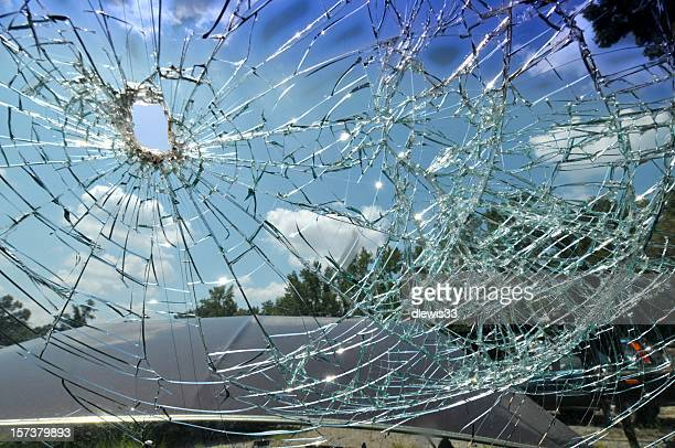 shattered windshield - windshield stock pictures, royalty-free photos & images