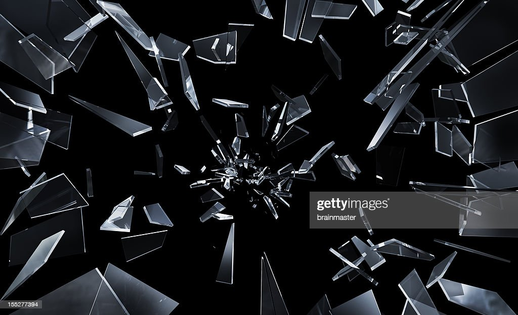 Shattering window glass : Stock Photo