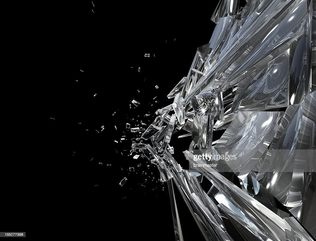 Shattering window side : Stock Photo