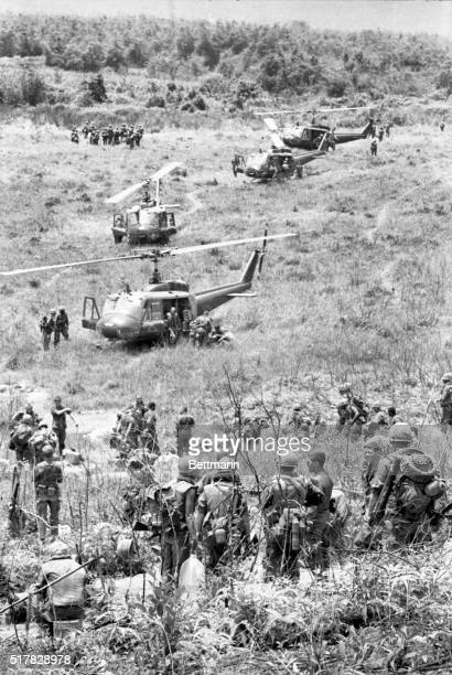 A Shau Valley South Vietnam Unloading In A Shau American troops deplane from helicopters during Operation Delaware in A Shau Valley recently A joint...