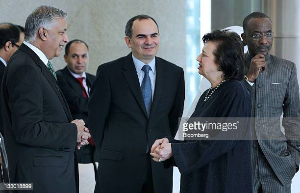 Shaukat Aziz former prime minister of Pakistan second from left Erdem Basci governor of Turkey's central bank third from right and Zeti Akhtar Aziz...