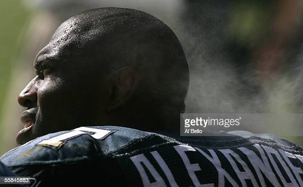 Shaun Alexander of the Seattle Seahawks sits on the bench during the game with the Washington Redskins on October 2 2005 at FedExField in Landover...