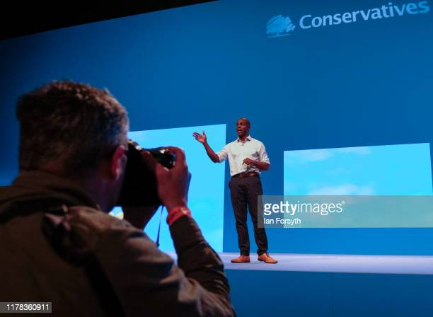 Shaun Bailey Conservative candidate for the Mayor of London delivers a speech on the third day of the Conservative Party Conference at Manchester...