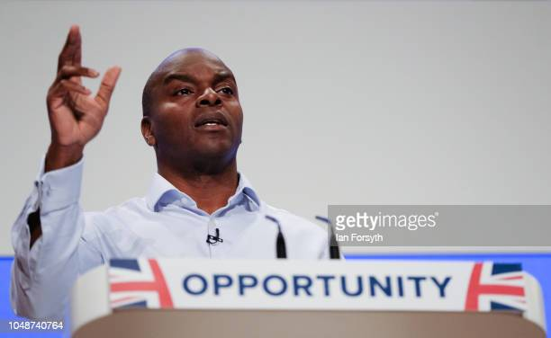 Shaun Bailey London Mayoral Candidate addresses the audience during a speech on the final day of the Conservative party Conference at the...