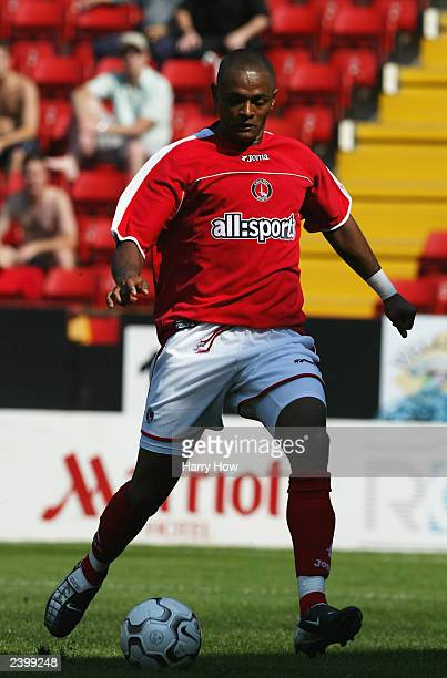 Shaun Barlett of Charlton Athletic looks to pass the ball during the pre-season friendly match between Charlton Athletic and NEC-Nijmegen on August...