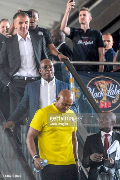 Shaun Bartlett of Kaizer Chiefs Mlutin Sredojevic of Orlando Pirates and Ian Wright attend the Carling Black Label media launch at Park Station on...