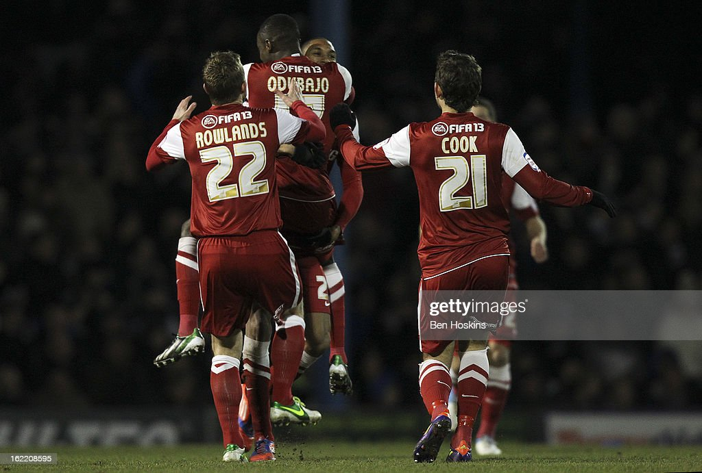Shaun Batt of Leyton Orient celebrates with team mates after scoring the opening goal of the game during the Johnstone's Paint Trophy Southern Section Final match between Southend United and Leyton Orient at the Roots Hall Stadium on February 20, 2013 in Southend, England.