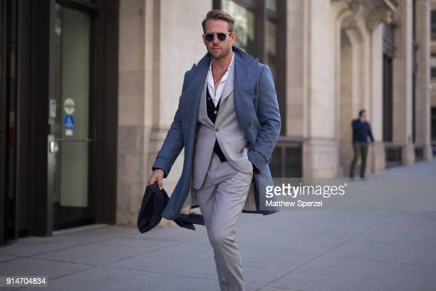 Shaun Birley is seen on the street attending Suitsupply during New York Fashion Week Men's wearing Hermen Menswear on February 5 2018 in New York City