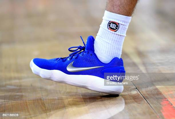 Shaun Bruce of the Bullets wears Nike branded shoes in aid of a charity during the round 10 NBL match between the Cairns Taipans and the Brisbane...