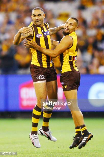 Shaun Burgoyne and Jarman Impey of the Hawks celebrates a goal during the round one AFL match between the Hawthorn Hawks and the Collingwood Magpies...