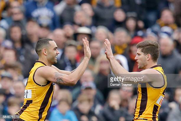 Shaun Burgoyne and Luke Breust of the Hawks celebrate a goal during the round 19 AFL match between the Hawthorn Hawks and the Carlton Blues at Aurora...