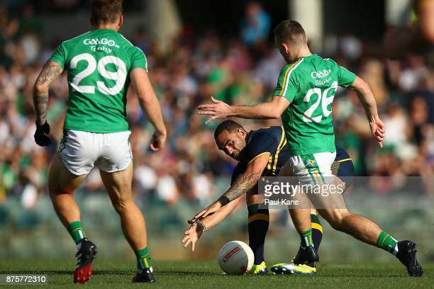 Shaun Burgoyne of Australia and Niall Sludden of Ireland contest for the ball during game two of the International Rules Series between Australia and...