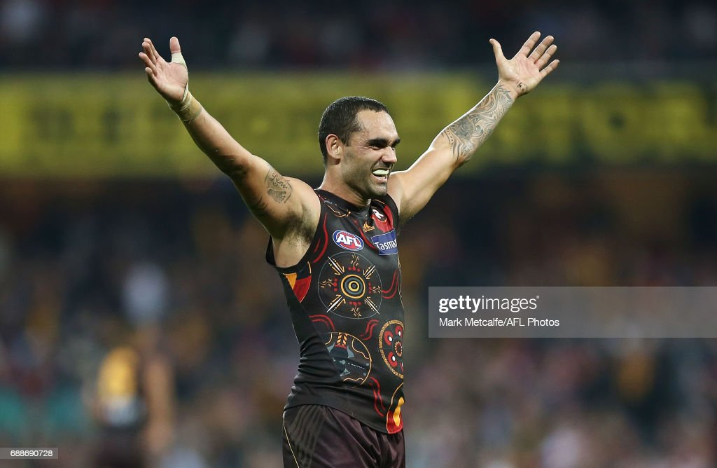 Shaun Burgoyne of the Hawks celebrates victory in the round 10 AFL match between the Sydney Swans and the Hawthorn Hawks at Sydney Cricket Ground on May 26, 2017 in Sydney, Australia.