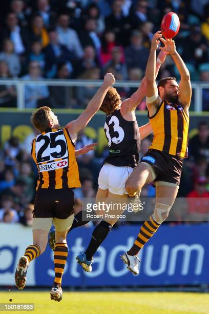 Shaun Burgoyne of the Hawks flies for a mark during the round 20 AFL match between the Hawthorn Hawks and the Port Adelaide Power at Aurora Stadium...