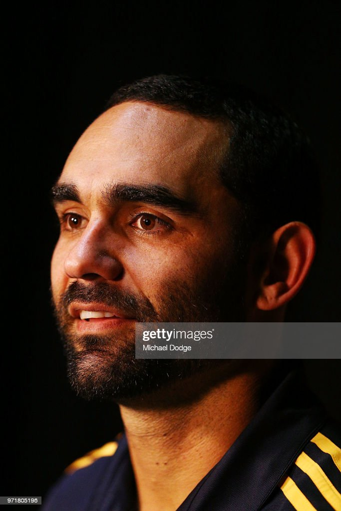 Shaun Burgoyne of the Hawthorn Hawks speaks to the media during a press conference at Waverley Park on June 12, 2018 in Melbourne, Australia.