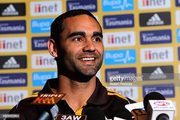Shaun Burgoyne speaks to the media during a Hawthorn Hawks AFL media session at Waverley Park on September 22 2014 in Melbourne Australia
