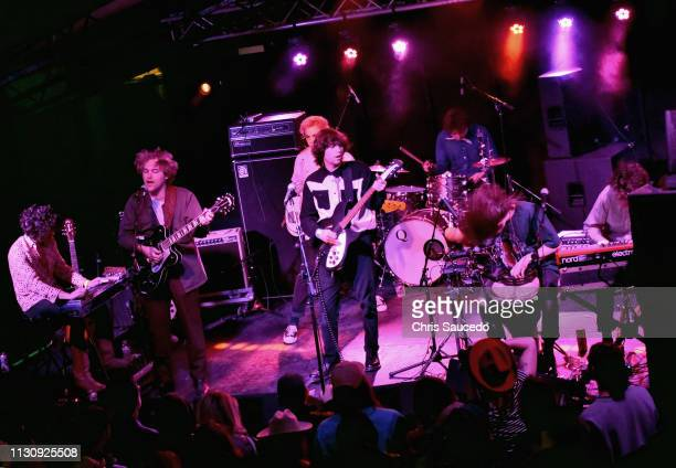 Shaun Couture Alec Castillo Patton Magee Connor Mikita Austin Brose and Zach Merrill of The Nude Party perform onstage at New West Records during the...