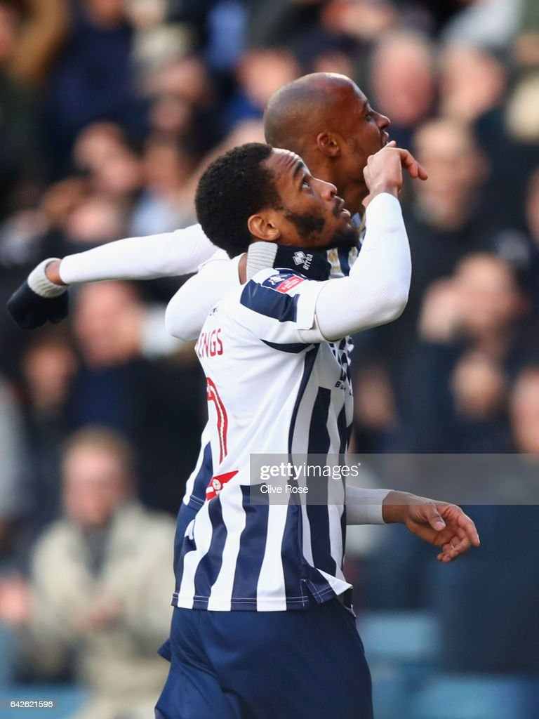 Shaun Cummings of Millwall celebrates scoring his sides first goal during The Emirates FA Cup Fifth Round match between Millwall and Leicester City at The Den on February 18, 2017 in London, England.