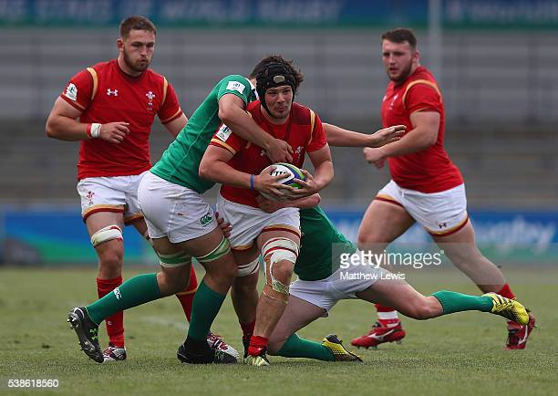 Shaun Evans of Wales makes a break through the Ireland defence during the World Rugby U20 Championship match between Wales and Ireand at The Academy...