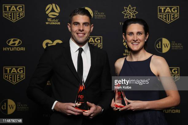 Shaun Evans poses with the Hyundai A-League Referee of the Year Award and Kate Jacewicz poses with the Westfield W-League Referee of the Year Award...