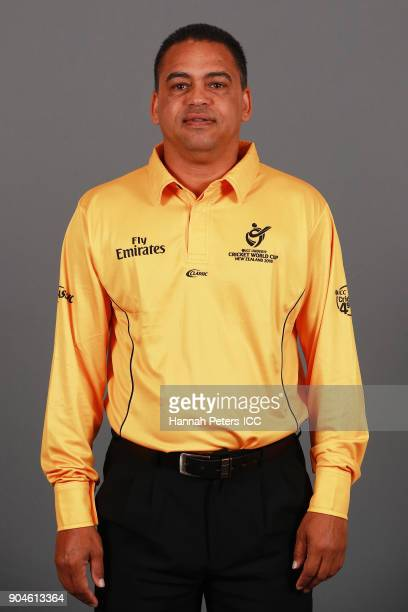 Shaun George poses during the Umpires ICC U19 Cricket World Cup Headshots Session at Rydges Christchurch on January 7 2018 in Christchurch New Zealand