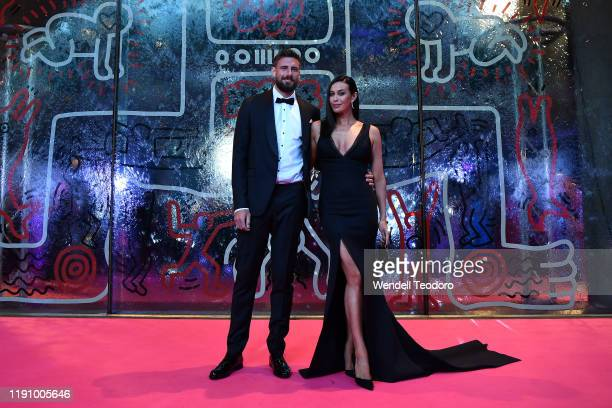 Shaun Hampson and Megan Gale attend the NGV Gala 2019 at the National Gallery of Victoria on November 30 2019 in Melbourne Australia