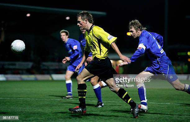 Shaun Harrad of Burton Albion goes through to score during the FA Cup 1st Round Replay between Burton Albion and Peterborough United at the Pirelli...