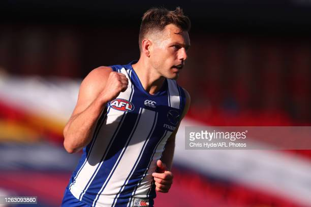 Shaun Higgins of the Kangaroos celebrates a goal during the round nine AFL match between North Melbourne Kangaroos and the Adelaide Crows at Metricon...