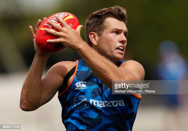 Shaun Higgins of the Kangaroos in action during a North Melbourne Kangaroos Training Session at Arden Street Ground on January 15 2018 in Melbourne...