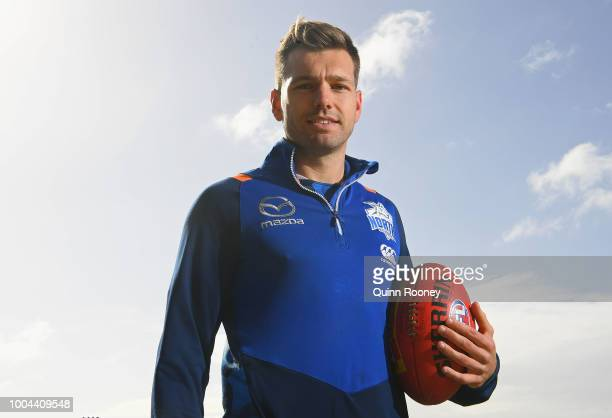 Shaun Higgins of the Kangaroos poses during a North Melbourne Kangaroos AFL media opportunity at Arden Street on July 24 2018 in Melbourne Australia
