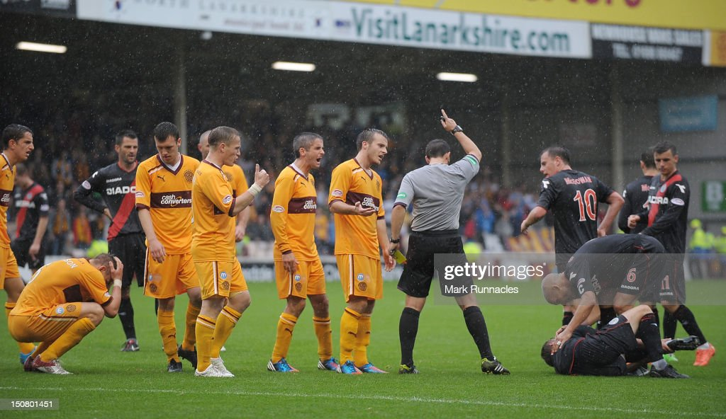 Shaun Hutchinson sent off for a second bookable offence during the Clydesdale Bank Scottish Premier League match between Motherwell and St Mirren at Fir Park on August 26, 2012 in Motherwell, Scotland.