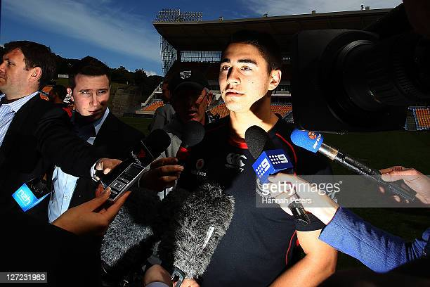 Shaun Johnson answers questions form the media following a New Zealand Warriors NRL training session at Mt Smart Stadium on September 27, 2011 in...