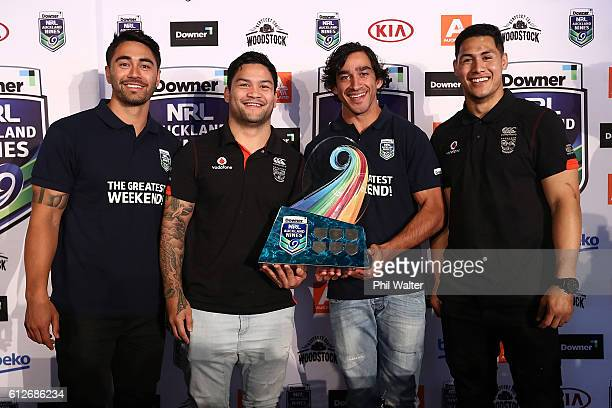 Shaun Johnson Issac Luke Johnathan Thurston and Roger TuivasaScheck pose with the NRL Nines trophy during the 2017 Auckland Nines Launch at Eden Park...